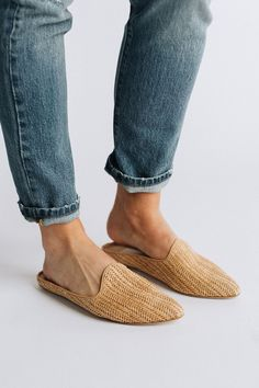 Details: Inspired by world travels, GRANT's woven texture and easy slip-on silhouette is perfect for the modern nomad. Color: Natural Material: Castaway, Lamb softy Runs true to size. Mules Shoes, Shoes Sandals, Flats, Clad And Cloth, Shoes For School, Women's Slip On Shoes, Buy Shoes, Vegan Shoes, Ciabatta
