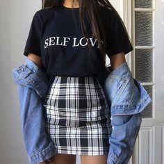 Sisterlinda Vintage Black Plaid Mini Skirt Women High Waist Mini Skirt Fashion Office Lady Party Side Zipper Skirts Mujer 2019 on AliExpress Casual Summer Outfits, Edgy Outfits, Teen Fashion Outfits, Retro Outfits, Vintage Outfits, Spring Outfits, Hipster Outfits, Casual Winter, Office Outfits
