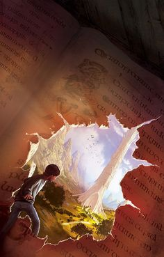 awesome illustration of a boy entering a magical world through a passage in the ripped page of a book