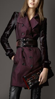 love the black leather sleeves and belt and pants to go with this color! wow! they nailed this one perfectly