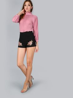 Shorts taille haut brodé ourlet -noir -French SheIn(Sheinside)
