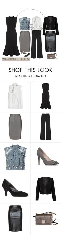 """""""Basics"""" by patricia-dimmick ❤ liked on Polyvore featuring Alexander McQueen, Dolce&Gabbana, MaxMara, Etro, Needle & Thread, Carvela, WithChic, Jimmy Choo and WardrobeStaples"""