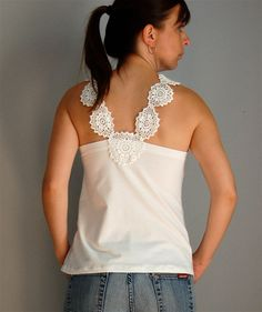 Doily Top // Upcycled Doily Top // White Tank Top by caseclothed, $40.00