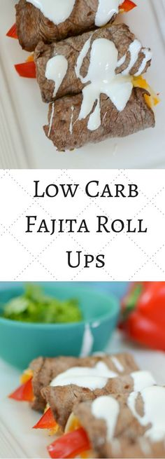 Steak fajita roll ups are an excellent low carb lunch box choice. Full of flavor and simple to make these roll ups make an excellent low car or keto friendly snack or meal. High Protein Low Carb, Low Carb Lunch, Low Carb Dinner Recipes, Keto Dinner, Low Carb Keto, Ketogenic Recipes, Keto Recipes, Snack Recipes, Protein Snacks