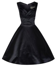 Lindy Bop 'Ophelia' Chic Vintage 1950's Black Satin Evening/Cocktail Dress at Amazon Women's Clothing store:
