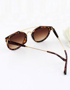 Leopard Metal Frames Wrap Resin Sunglasses