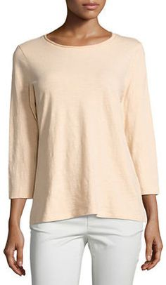 Shop Now - >  https://api.shopstyle.com/action/apiVisitRetailer?id=617623999&pid=uid6996-25233114-59 Eileen Fisher 3/4-Sleeve Slubby Organic Jersey Top  ...