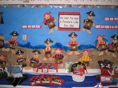 I like these pirates for a bulletin board/writing activity.Yo-ho-ho a Pirates LIFE Skills for me! Pirate Day, Pirate Life, Pirate Theme, School Displays, Classroom Displays, Classroom Themes, Pirate Activities, Preschool Activities, Pirate Bulletin Boards