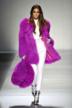 Bluemarine Fall 2012 / Fuchsia fur coat - Anastassia Krez