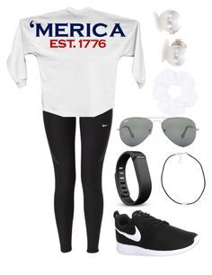 """'Merica"" by cjstefan ❤ liked on Polyvore featuring NIKE, Fitbit, NLY Accessories, Ray-Ban, Topshop and Mikimoto"