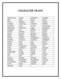 The purpose of this lesson is to give students practice applying what they have learned about character traits in various genres. I asked students what they remembered about character traits Writing Promps, Book Writing Tips, Writing Words, Writing Help, Describing Characters, Writing Characters, Character Personality Traits, Positive Character Traits, Character Bio Template