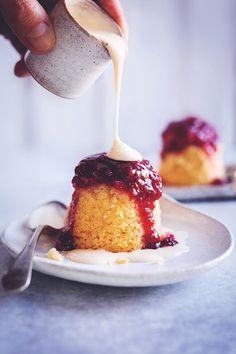 Raspberry Coconut Sponge Puddings   Sophia's Kitchen
