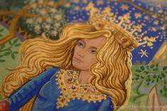 Detail from the illuminated painting The Lady and the Swan by British artist and illuminator Andrew Stewart Jamieson.