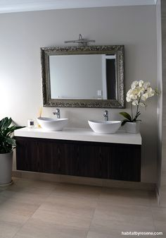 The bathroom carries on the country lodge theme, painted in Resene Half Tea and Resene White. The large gilt mirror is a gorgeous touch. Resene Colours, Bathroom Renovations, Bathrooms, Bathroom Ideas, Lodge Look, All In The Family, House Paint Exterior, Bathroom Interior Design