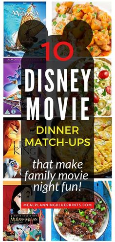 Make your family movie night extra special with Disney movie themed meals to match up with the movie! Here are some inspired Disney dinner recipes and the movie to watch it with. Add these ideas to your meal planning theme nights (Friday Fun night, maybe???). (p.s. these ideas are great for your picky eaters - theyll love having dinner match your Disney movie night!) #whatsfordinner #disneymovie #mealplanning #themenights via @mpblueprints