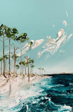 Seascape 24X36 acrylic paint Justin Gaffrey Blue Mountain Beach 30A