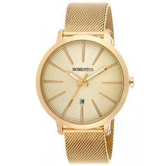 Momentus EM138G-08SG Men's Elegance Gold Tone Dial Yellow Gold Steel Mesh Bracelet Watch