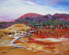 Carole Foster was born in 1952 and raised in Wangaratta, Victoria. From an early age she showed a flair for drawing and painting. Foster continued to establish herself as an artist and travelled extensively, living at various times in New Zealand, Norfolk Island, England and Germany. These countries provided a base from which to travel... Watercolor Landscape, Abstract Landscape, Landscape Paintings, Fitness Video, Gouache Painting, Silk Painting, Acrylic Painting Techniques, Australian Artists, Australia Travel
