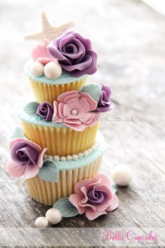 Shabby chic with a little hint of seaside sweetness tiered cupcake