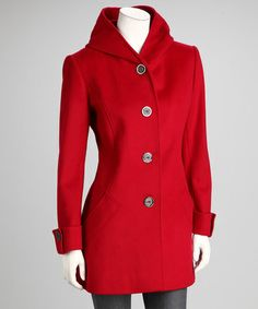 Take a look at this Red Hooded Wool-Blend Coat by George Simonton on #zulily today!