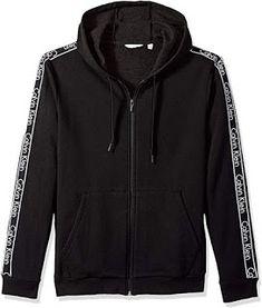 707e877c166f95 Calvin Klein Men's Fullzip Hoodie with Logo Elastic Tape, Black, L