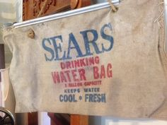 Vintage SEARS Canvas Water Bag for Camping Gear by PaintedLadyAntiques on Etsy