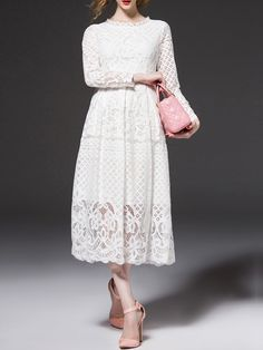 Shop White Embroidered A-Line Lace Dress online. SheIn offers White Embroidered…