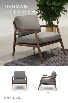 Denman Storm Gray Chair – Modern Classics Furniture – Iconic Designs from the Past Denman Storm Gray Chair Subtle, effortless, debonair. The Denman chair rests on a sleekly designed solid- walnut frame, and a lattice-webbed base. Lounge Design, Sofa Design, Web Design, Wood Chair Design, Cheap Furniture, Furniture Decor, Rustic Furniture, Walnut Furniture, Furniture Movers