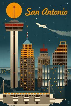 San Antonio, Texas - Retro Skyline - Lantern Press Poster