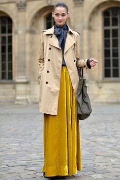 Yellow velvet maxi skirt