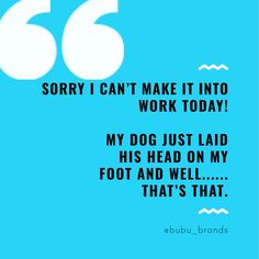 Sorry i can't make it into work today! My dog just laid His head on my Foot and well. Dog Funnies, Dog Memes, Great Quotes, Inspirational Quotes, Puppy Quotes, Natural Dog Treats, Spaniel Dog, Dog Signs, Schnauzers
