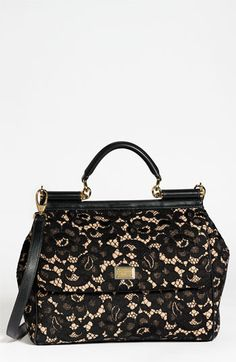Dolce 'Miss Sicily' Leather & Lace Satchel | #Nordstrom #falltrends #handbags
