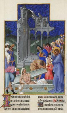 """folio 171r The Raising of Lazarus by Limbourgs - part of """"Les Très Riches Heures du Duc de Berry"""" http://pt.wikipedia.org/wiki/Les_tr%C3%A8s_riches_heures_du_duc_de_Berry & Presentation at www.sabercultural.com/template/slides/Les-Tres-Riches-Heures.pps - Higher at http://upload.wikimedia.org/wikipedia/commons/0/08/Folio_171r_-_The_Raising_of_Lazarus.jpg (Thx Piggy)"""