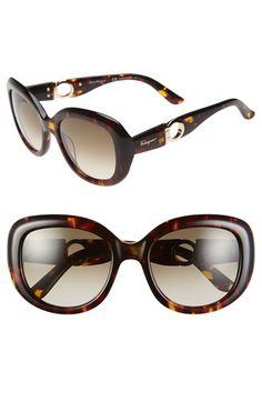 Women's Salvatore Ferragamo 'Gancino' 53mm Retro Sunglasses - Havana Amber