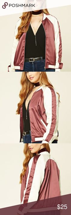 """Women's jacket This lightweight satin souvenir jacket features long raglan sleeves, varsity stripes on its ribbed knit trim, a zippered front, and front slanted pockets with contrast trim.  Content + Care  - Shell 1: 96% polyester, 4% spandex  - Shell 2 & Lining: 100% polyester  - Dry clean  - Made in China  Size + Fit  - Model is 5'11"""" and wearing a Size 1X  - Full length: 23""""  - Chest: 46""""  - Waist: 46""""  - Sleeve length: 96"""" & Other Stories Jackets & Coats"""