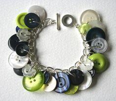Lime Navy and Pearl Button Charm Bracelet. via Etsy.