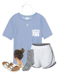 """""""spam the comments with questions, positive things, and stuff about you :)"""" by samanthars ❤ liked on Polyvore featuring Victoria's Secret, NIKE, Lands' End, Birkenstock and Kate Spade"""