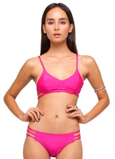 Motel Sunstone Cut-Out Bikini in Magenta, TopShop, ASOS, House of Fraser, Nastygal