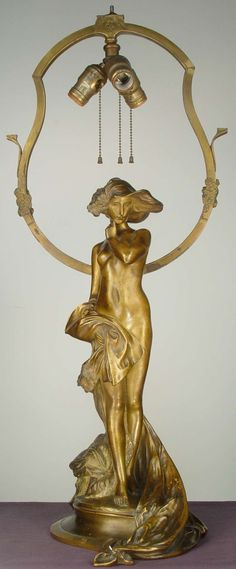 Charles Korschann (Czech 1872-1943) Art Nouveau signed bronze figural lamp circa 1910. Signed and with foundry seal for Louchet, Paris.