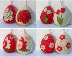 Ähnliche Artikel wie Fühlte mich Ostern Dekoration - Elfenbein und Rosa Filz Eier mit Blumen / Set 6 auf Etsy