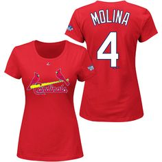 St. Louis Cardinals Yadier Molina Women's 2013 World Series Participant Name and Number T-Shirt - MLB.com Shop