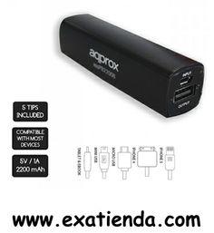 Ya disponible BATERIA APPROX EXTERNA 2200 MAh iPHONE5/4/TABLET/EBOOK      (por sólo 13.95 € IVA incluído):   - Cargador con batería externa portátil POWER BANK de 2200 mAh de alto rendimiento, diseñada específicamente para cargar cualquier dispositivo electrónico autónomo (IPAD, IPHONE ,TABLET, MOVILES, SMARTPHONES, MP4, GPS, etc.). Pensado para llevar en tu bolsillo, bolsa, etc.  **** - Especificaciones técnicas ****     * Fácil de transportar     * 600 ciclos de