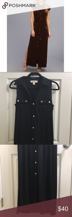 Black MK buttondown shirt dress Very sleek button up dress. Has some stretch to it. High side slits. EUC but is missing the belt. Honestly would look great with a gold mini belt anyways. All buttons are gold colored Michael Kors buttons. Feel free to make a reasonable offer. Not sure what's reasonable? Check out the chart at the top of my closet ☺️ MICHAEL Michael Kors Dresses Maxi