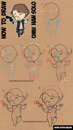 How to Draw Chibi Cartoon Han Solo from Star Wars with Easy Steps Drawing Lesson