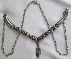Beautiful Vintage Navajo Sterling Silver Hand Sculpted Necklace Very Ornate
