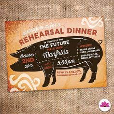 Pig Roast Rehearsal Dinner Invitation