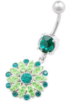 beautiful Flower 9 dangly belly button ring 14g 3/8 stainless steel navel piercing bar body jewelry BFFR - Jewelry For Her