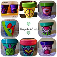 Macetas Pintadas Painted Clay Pots, Painted Flower Pots, Hand Painted, Clay Pot People, Pottery Pots, Flower Pot Design, Mosaic Pots, Clay Pot Crafts, Rock Decor