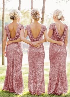 Sheath/Column Scoop Neck Floor-Length Sequined Bridesmaid Dress (0075059181)