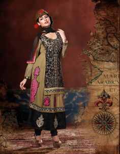 Asparagus Beige Brown & Black Embroidered Designer Suit Design No :- 18556 Product :- Unstitched Salwar Kameez Size :- Max 40 Fabric :- Pure Georgette, Velvet Work :- Resham, Jari, Embroidery Stitching Charges :- र 400 Price :- र 5421  For Sales Queries :- sales@manjaree.in OR call on 0261-3131669  For More Information :- http://manjaree.in/  Follow Our Blog :- http://manjareefashion.blogspot.in/